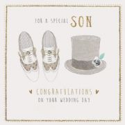 Hand Finished Son Wedding Day Greeting Card